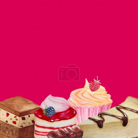 Illustration pour Aquarelle doux fond de desserts. Cadre vectoriel avec cupcakes, desserts aux baies et cheesecake . - image libre de droit