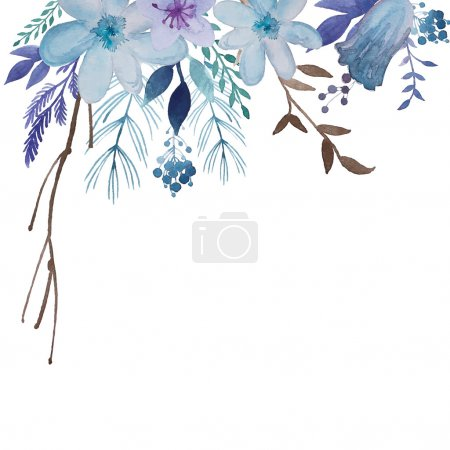 Illustration for Watercolor floral background. Flowers and plants frame in vector. Blue vintage illustration - Royalty Free Image
