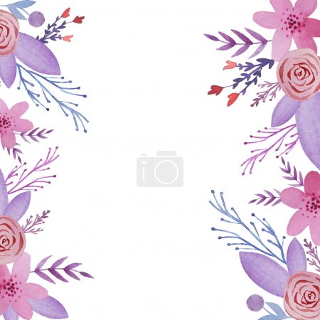 Illustration for Watercolor floral background. Flowers and plants frame in vector. - Royalty Free Image