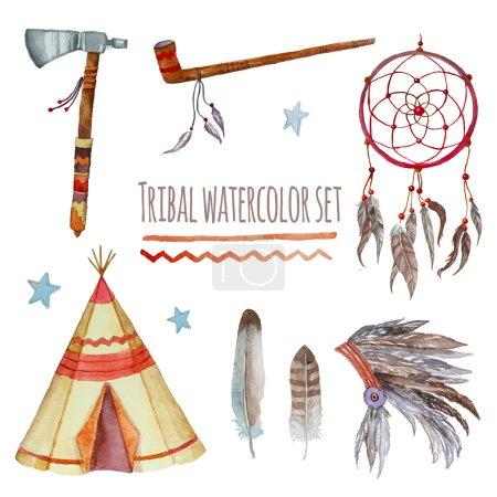 Watercolor tribal set.
