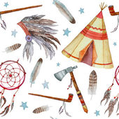 Watercolor tribal seamless pattern Background with vintage hand drawn design elements: tepee peace pipe Indian hat dreamcatcher axe feathers and stars