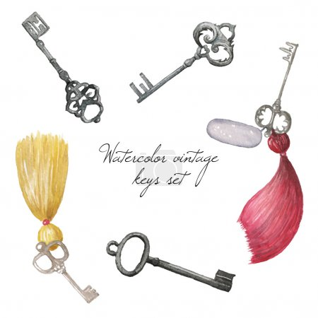 Illustration for Watercolor vintage keys set. Hand drawn retro illustration in vector - Royalty Free Image