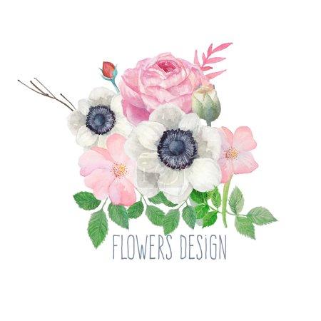 Watercolor flowers design label