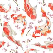 Watercolor oriental pattern with rainbow carps Seamless oriental texture with isolated hand drawn fishes and blossom cherry Asian natural background in vector