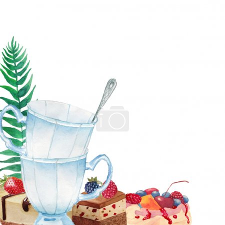 Watercolor tea time frame