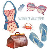 Watercolor summer vacation retro set Vintage hand drawn beach objects: sunglasses Luggage flip flops polka dot swimsuit crab tickets