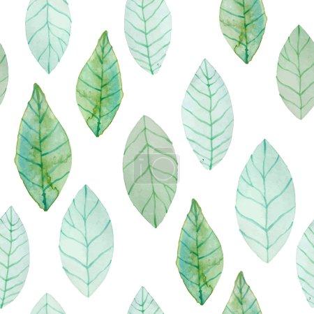 Illustration pour Aquarelle motif feuilles vertes. Fond organique sans couture peint à la main. Illustration vectorielle . - image libre de droit