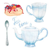 Watercolor summer tea time set Hand painted vintage porcelain cup teapot spoon meringue cake with berries Vector objects