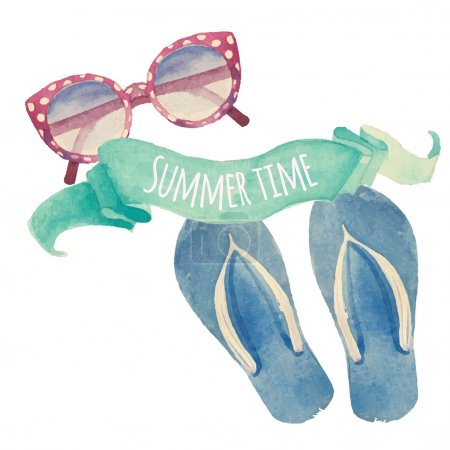 Illustration for Summer time. Watercolor summer vacation retro label. Vintage hand drawn beach travel objects: sunglasses, flip flops and artistic mint ribbon. Vector isolated illustration - Royalty Free Image