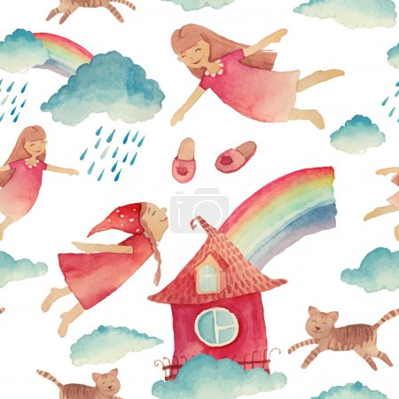 Watercolor pattern with flying girls