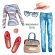 Watercolor Sea style fashion set. Hand painted tre...