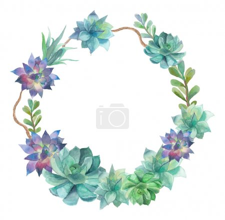 Watercolor succulents wreath