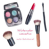 Watercolor cosmetics set Hand painted make up artist objects: lipstick eye shadows brushes Vector isolated beauty illustrations