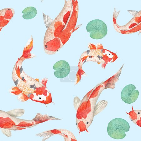 Illustration for Watercolor rainbow koi carp pattern. Seamless oriental texture with water Lily leaves and hand drawn fishes. Underwater wildlife repeating background in vector. Artistic illustration - Royalty Free Image