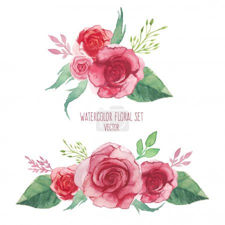 Watercolor set of flowers bouquets