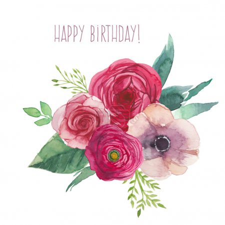 Illustration for Watercolor happy birthday card with flowers bouquet. Hand painted isolated posy with roses, ranunculus, anemones, leaves and floral elements. Vector artwork - Royalty Free Image