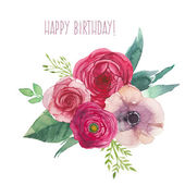 Watercolor happy birthday card with flowers bouquet Hand painted isolated posy with roses ranunculus anemones leaves and floral elements Vector artwork