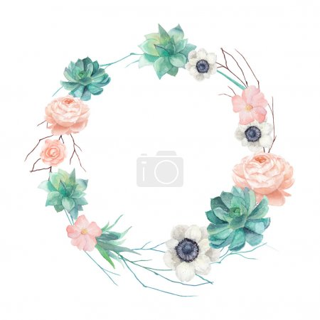 Illustration for Watercolor succulents and flowers wreath. Vintage round frame with tree branch, pastel peony,roses, anemones, succulents, rose hip. Floral art print in vector - Royalty Free Image
