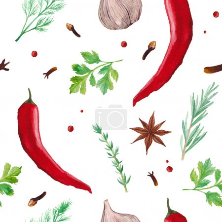 Watercolor spices seamless pattern