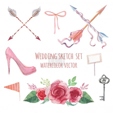 Illustration for Watercolor Vintage and rustic wedding signs set. Various objects: floral bouquet with roses, nude shoes, silver key, table card, flag, ribbon bow and tribal arrows. Hand painted vintage set. - Royalty Free Image