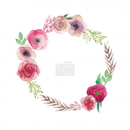 Illustration for Watercolor vintage flowers wreath. Hand painted round frame with posy roses, ranunculus, anemones, leaves and floral elements. Vector design - Royalty Free Image