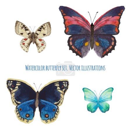 Illustration pour Ensemble papillon aquarelle. Divers papillon isolé dessiné à la main avec aquarelle. Clip art vectoriel faune - image libre de droit