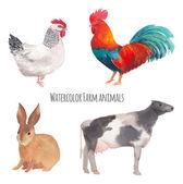 """Постер, картина, фотообои """"Акварель сельскохозяйственных животных"""""""