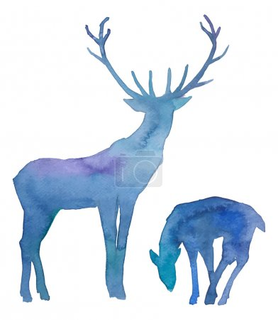 Watercolor splashes silhouettes of deers