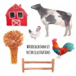 Постер, плакат: Watercolor farm animals