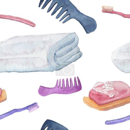 Photo pour Articles d'hygiène motif sans couture. Aquarelle soins de santé objets texture. Fond répétitif avec illustrations vectorielles dessinées à la main : peigne à cheveux, serviette, brosse à dents, savon . - image libre de droit