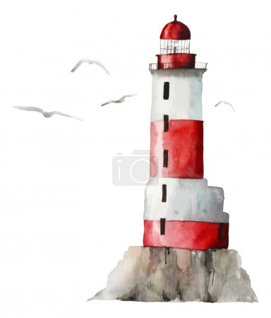 Watercolor lighthouse illustration