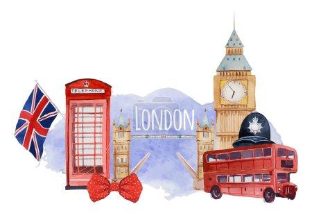 Watercolor London banner.