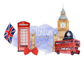 Watercolor London banner Label with hand drawn elements English capital signs