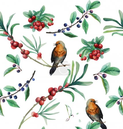 Watercolor berries and birds seamless pattern
