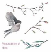 Watercolor flying bird and twigs