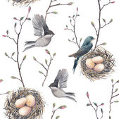 Watercolor seamless pattern with nest birds and tree twigs Vector hand drawn spring background Vintage wallpaper with swallow and eggs