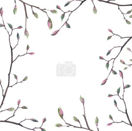 Illustration pour Cadre de brindilles aquarelle. Bordure florale avec branches, boutons floraux et feuilles. Fond de carte à ressort vectoriel - image libre de droit