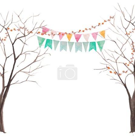 Illustration pour Carte de fête arbre aquarelle. Arbre sans feuilles silhouettes avec guirlandes légères et drapeaux. Fond vectoriel rustique - image libre de droit