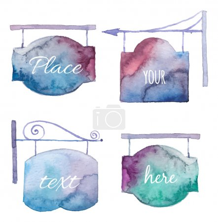 Illustration for Watercolor bright singboard set. Hand drawn vector street signs sketch. Isolated on white background. Illustrations for label design - Royalty Free Image