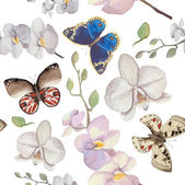 Watercolor natural pattern with flowers and butterfles Seamless texture with floral and herbal elements various butterflies Vector hand drawn background