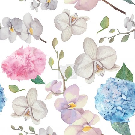 Illustration for Watercolor natural flowers background vector illustration - Royalty Free Image