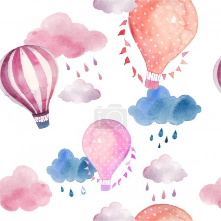 Illustration for Watercolor seamless pattern with air balloons and clouds. Hand drawn vintage collage illustration with hot air balloon, flag garlands, abstract pastel clouds and rain drops. Vector kids texture - Royalty Free Image