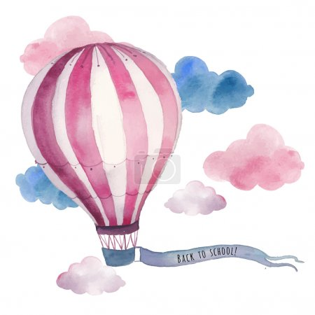 Illustration for Watercolor back to school card with air balloon and clouds. Hand drawn vintage collage illustration with hot air balloon and banner in sky. Vector design - Royalty Free Image