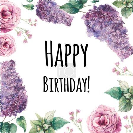 Carte de joyeux anniversaire de fleurs aquarelle