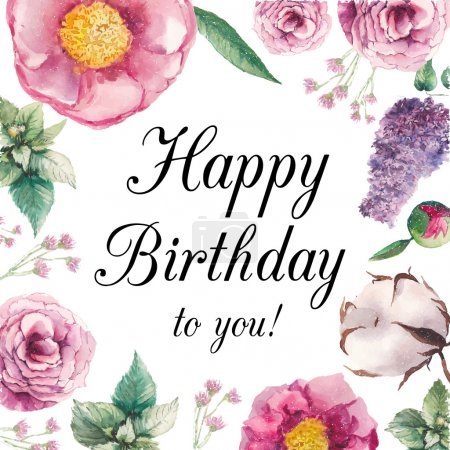 Illustration for Watercolor garden floral Happy birthday card. Hand drawn vintage collage frame with roses, lilac, mint leaves, peony, cotton flower and small field flowers. Vector greeting design - Royalty Free Image