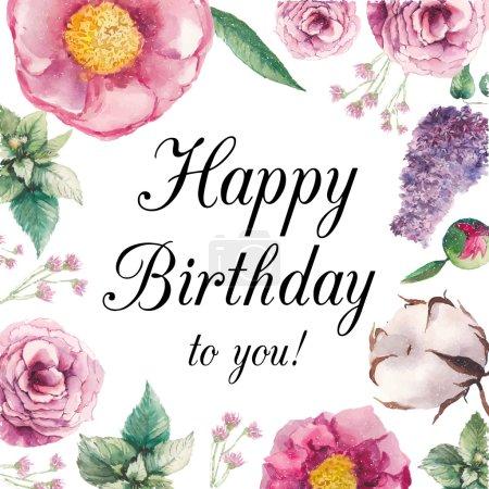 Carte d'anniversaire joyeux floral aquarelle