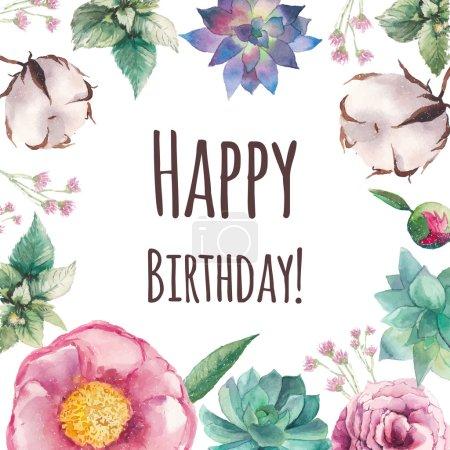 Watercolor floral Happy birthday card