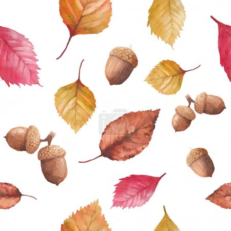 Watercolor autumn nature seamless pattern