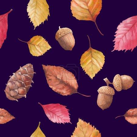 Watercolor autumn nature seamless pattern