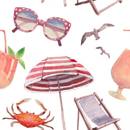 Watercolor beach vacation pattern.